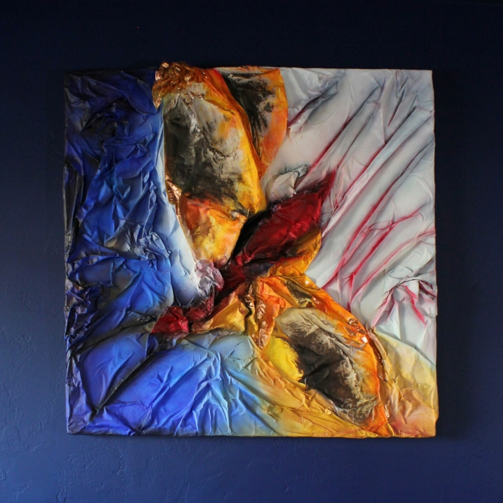 wings folded painting